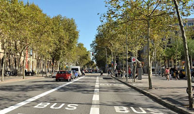 Barcelona designated bus lanes - two separate lanes allowing for overtaking.