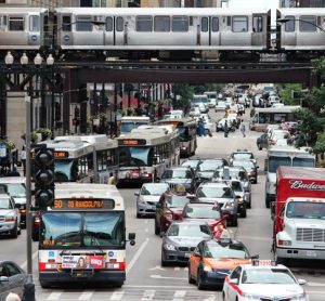 Transport in the centre of Chicago where ride-sharing company Via has expanded its services