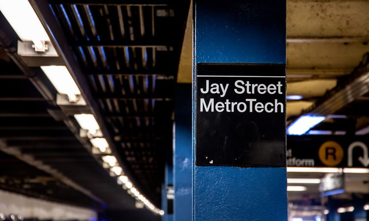 Jay Street MetroTech on the New York subway, which has been converted into a living accessibility lab