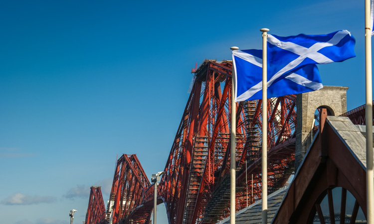 Scottish flag and bridge
