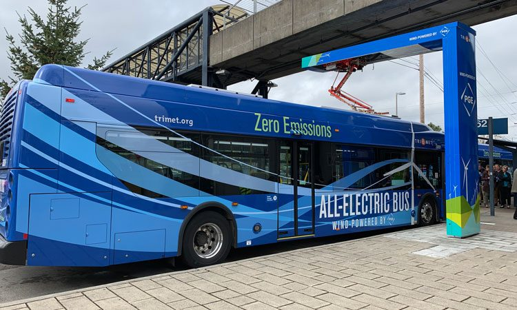 TriMet Portland's first all-electric, wind-powered bus